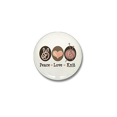 CafePress Peace Love Knit Knitting Mini Button 1