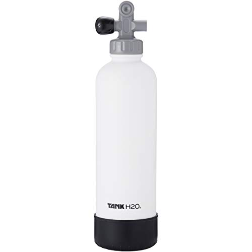 TankH2O Scuba Tank Vacuum Insulated Water Bottle: Great Gift and Accessory for Scuba Divers | Holds 700mL | Food-Grade Stainless Steel Bottle, BPA-Free Cap, Silicone Boot (White)