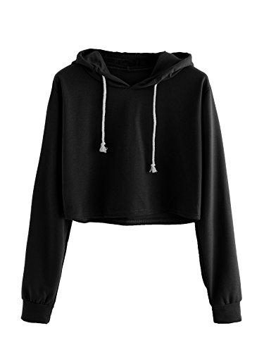 - MAKEMECHIC Women's Long Sleeve Pullover Sweatshirt Crop Top Hoodies Black XL