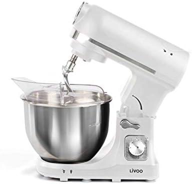 Robot de cocina con picadora de carne, batidora con cuenco, amasadora, batidora (1000 W, batidora, batidora, gancho para amasar, 6 niveles), color blanco: Amazon.es: Hogar