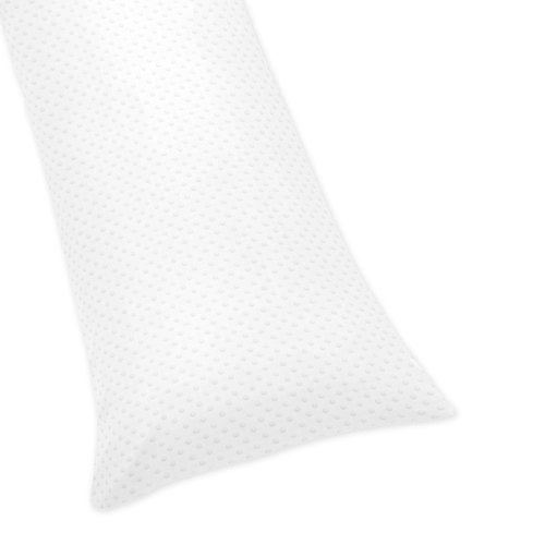 Sweet Jojo Designs Solid White Minky Dot Full Length Double Zippered Body Pillow Case Cover - Dots Body Pillows