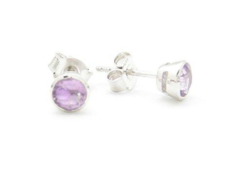Fundamental Rockhound Products: Amethyst Gemstone Sterling Silver Post Earrings (Silver Fundamentals)