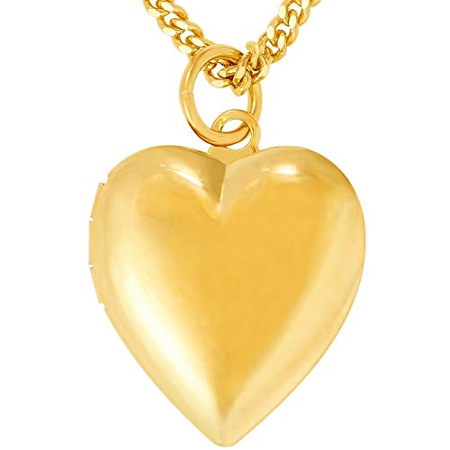 Gold Heart Necklace Large (Lifetime Jewelry Heart Necklace Locket for Kids [ Plain Simple Gold Locket ] up to 20X More 24k Plating Than Other Kids Locket Necklace That Holds Pictures - Free Lifetime Replacement Guarantee)