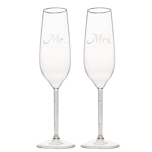 Set of 2 Wedding Champagne Flute Glasses - Mr and Mrs Bride Toasting Engraved Flute Pair Glass Set - 1.7 x 2.7 x 9.5 Inches (Toasting Flutes Reception)