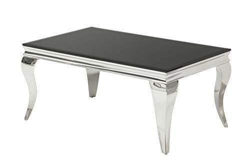 DuNord Design Sofa–Mesa louis barroco de cristal 100cm Negro Sofa Mesa Auxiliar Mesa