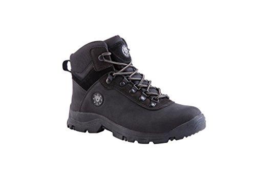 KINGSHOW Men's 1552-1 Waterproof Black Rubber Sole Work Boots 10.5 M US