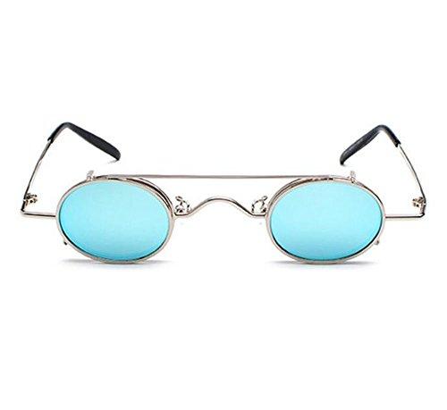 sol polarizado metal elípticas Punk hippie no de de desmontables Azul marco Plateado gafas Retro estilo 5WqI78xw07
