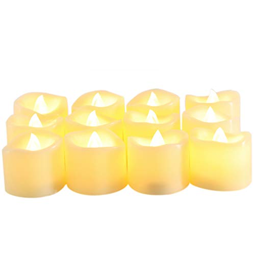 "Candle Choice Flameless Votive Candles, Battery Operated LED Candles with Timer, Long Battery Life,Set of 12 (tealight 1.5x1.5"")"