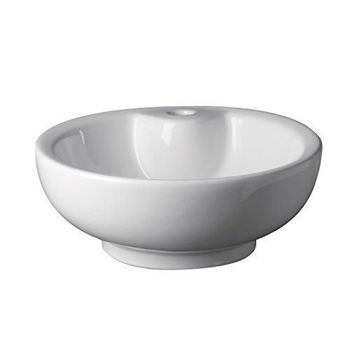 Decolav Vitreous China Pedestal - DECOLAV 1451-CWH Kyra Classically Redefined Round Vitreous China Above-Counter Vessel with Overflow, White