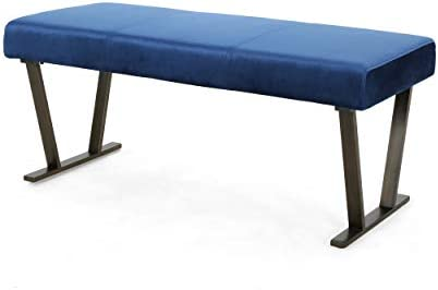 Christopher Knight Home Hedy Modern Velvet Bench with Brushed Brass Metal Legs, Navy Blue, Antique