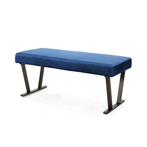 Christopher Knight Home 307764 Hedy Modern Velvet Bench with Brushed Brass Metal Legs, Navy Blue, Antique (Bench Blue Velvet)