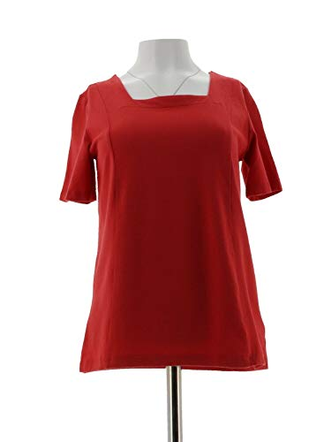 Bob Mackie Square Neck Short SLV Knit Top Geranium Red L New A292288
