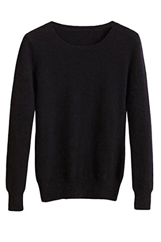 Long Sleeve Pullover Sweater - Viottis Women's Crewneck Cashmere Wool Long Sleeve Pullover Sweater Black S