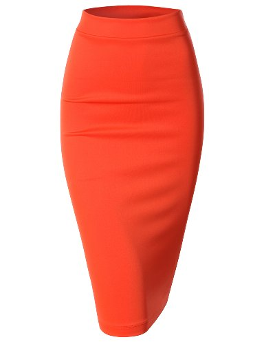 Doublju Elastic Waist Scuba Slim Fit Stretchy Pencil Midi Skirt (Plus size available)ORANGE 2XL