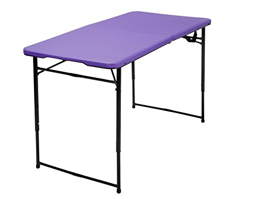 Cosco Products COSCO 4 ft. Indoor Outdoor Adjustable Height Center Fold Tailgate Table with Carrying Handle, Purple Table Top, Black (Purple Table)
