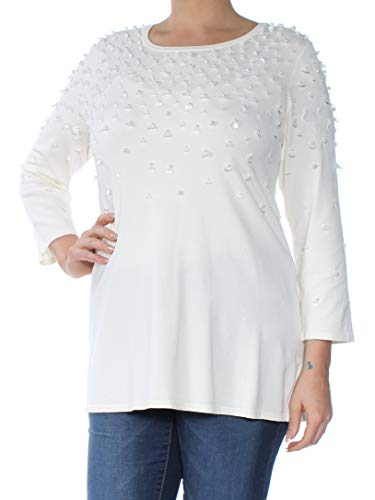 Alfani Womens Embellished Long Sleeves Pullover Sweater Ivory L