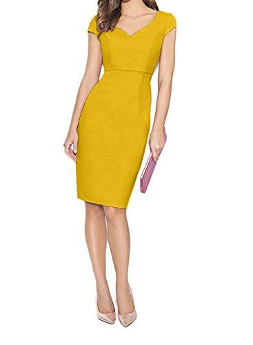mit Gelb Partykleider Dunkel Abendkleider Charmant Knielang Damen Etuikleider Rosa Elegant Ballkleider Kurzarm ngAW7qZP
