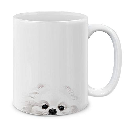 White Pomeranian - MUGBREW White Teacup Pomeranian Ceramic Coffee Gift Mug Tea Cup, 11 OZ