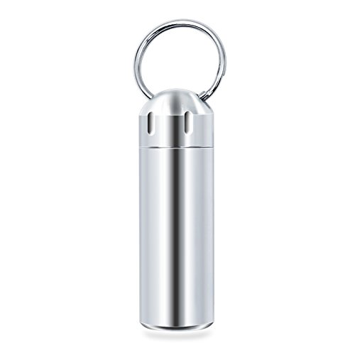 SHD Pill Box Keychain Waterproof Single Chamber Stainless Steel Pill Organizer for Outdoor Travel Camping