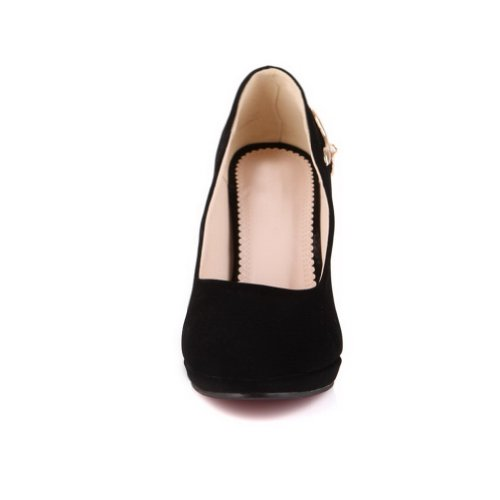 AmoonyFashion Womans Closed Round Toe High Heel Spikes Stilettos PU Frosted Solid Pumps Black WpP2DoQ
