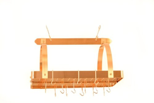 (30 x 20.5 x 15.75 Satin Copper Pot Rack w/Grid 24 Hooks)
