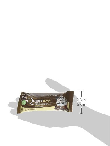 Quest Nutrition Protein Bar, Mocha Chocolate Chip, 20g Protein, 4g Net Carbs, 180 Cals, High Protein Bars, Low Carb Bars, Gluten Free, Soy Free, 2.1 oz Bar, 12 Count