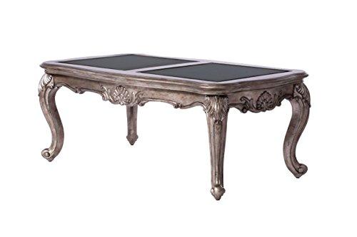 Acme Furniture 80540 Chantelle Coffee Table Black Granite/Antique Platinum