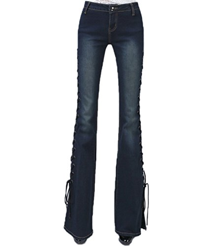 Low Rise Trouser Flare Jean - ZQYO Women's Fashion Bandage Mid-Rise Bell-Bottom Wide Leg Flare Denim Pants Jeans Trousers