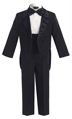 OLIVIA KOO Boy's Classic Ring Boy Signature Tuxedo Set with Tail - Tail Tux Black