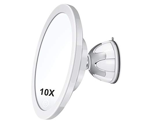 Professional 6.1″ 10X Magnifying Makeup Mirror with Light, Shower Shaving Mirror, 3 Colors Adjustable Pearl Cosmetic Mirror, Brightness Adjustable Magnetic Suction Base Rechargeable