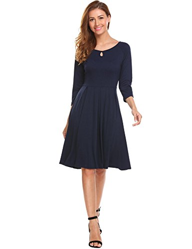 Hotouch Women's Loose Long Sleeve A-Line Flared Midi Shift Dress Navy Blue L