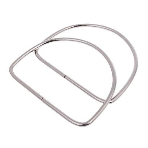 (VIccoo 1 Pair Metal Bag Handle Handbag Purse Replacement Handles DIY Making Accessories - Silver)
