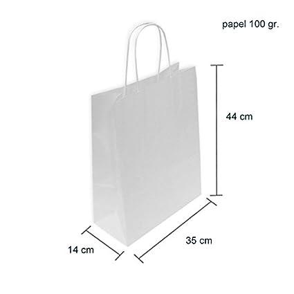 CAJA 250 BOLSAS PAPEL BLANCAS 35+14x44 CM (35+14x44, Celulosa blanco)