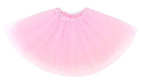 Child Tutu Light Up (Simplicity Girls' Tutu Layer Tulle Ballet Skirts w/ Elastic Waist, Light Pink)