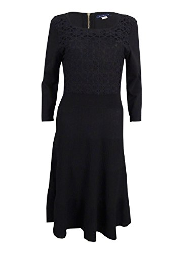 Tommy Hilfiger Women's Crochet Ribbed Sweater Dress (L, Black)
