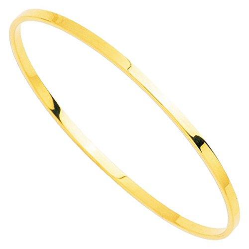 Orleo - REF7476BB : Bracelet rigide Femme Or 18K jaune - Fil Rectangulaire Massif 65 mm x 3 mm