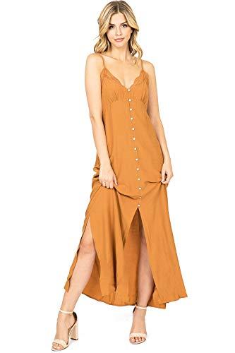 Love Stitch - LOVE STITCH Women's Cami Button Down Slip Dress (M, Dark Camel)