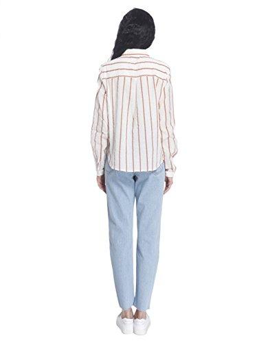 Vero Moda Vmstripy L/S Shirt a, Blusa para Mujer Blanco (Snow White Stripes:DENIM BLUE CLOSE STRIPES)