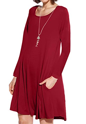 JollieLovin Women's Pockets Long Sleeve Casual Swing Loose Dress (Wine Red, 3X) ()