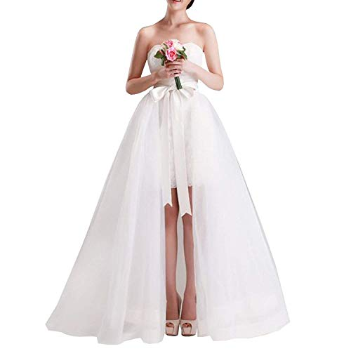 (Women Wedding Maxi Tulle Skirts Detachable Train Overskirt Overlay Long Bridal Ivory)