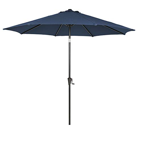 Ulax furniture 9 Ft Outdoor Umbrella Patio Market Umbrella Aluminum with Push Button Tilt&Crank, Sunbrella Fabric, Spectrum Indigo (High End Sale Outdoor Furniture)