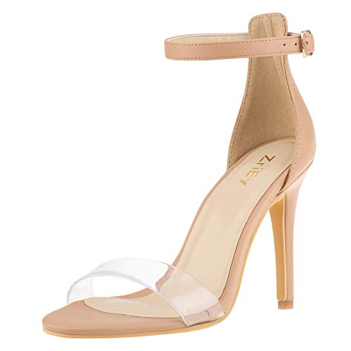 ZriEy Women's Heeled Sandals Ankle Strap High Heels 10CM Open Toe Bridal Party Shoes Nude Clear Size - Sandals Strap Clear