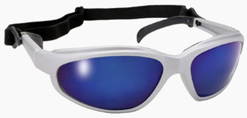 Freedom Padded Silver Frame Motorcycle Sunglasses Blue Mirror Lens