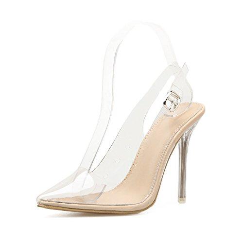mujeres con punta que transparentes y eran zapatos de los son nueva hueco de sandalias que Con sexy celosía apricot primavera zapatos celosía verano w4YPqx