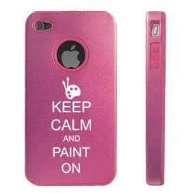 Apple iPhone 4 4S 4 Pink D4882 Aluminum & Silicone Case Cover Keep Calm and Paint On