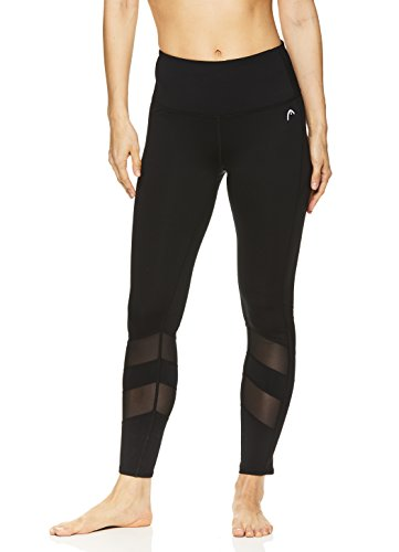 HEAD Women's High Waisted 7/8 Length Leggings - Crop Activewear Yoga & Running Pants - Black Recovery, X-Small