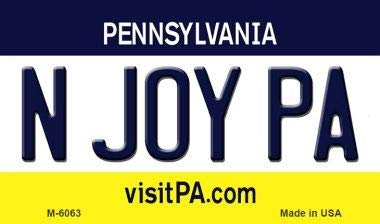 Bargain World N Joy PA Pennsylvania State License Plate for sale  Delivered anywhere in USA
