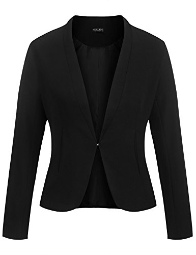 Women Long Sleeve Slim Suit Jacket Coat Black - 7