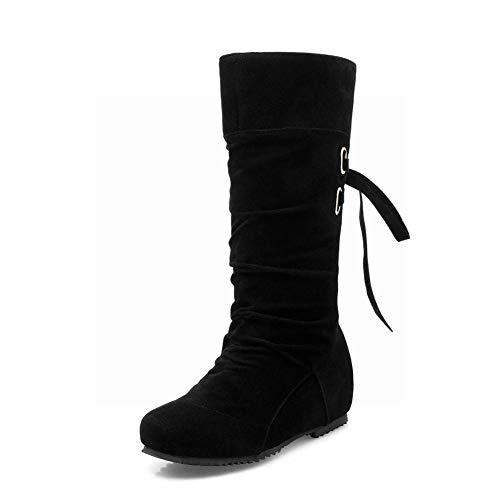 Invierno E De Negro Invierno De Botas Botas con Mujer XDX Botas Cálido Zapatos De Otoño Femeninas Martin Mujer De Botines Planas wxgnq40IYF