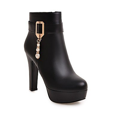RTRY Women's Shoes Leatherette Fall Winter Fashion Boots Boots Chunky Heel Round Toe Booties/Ankle Boots Beading Buckle For Party & Evening US9.5-10 / EU41 / UK7.5-8 / CN42 MecAM